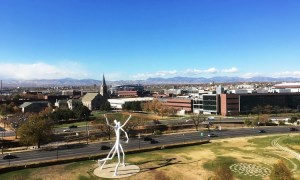 A view of the mountains and sculpture park near the Denver Convention Center