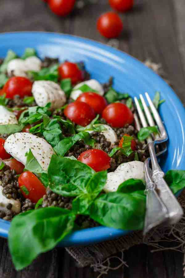 Caprese Lentil Salad Recipe The Mediterranean Dish