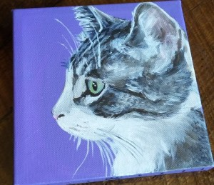 Misha got her very own custom pet portrait done! The artist is Diana Hartman, and she stopped by The Meow Place to tell us all about her custom pet portraits and how you can get one for yourself.