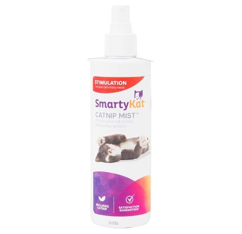 Did you know that you can get catnip spray? Smartykat Catnip Mist is the easy way to refresh toys, scratching posts and more. Just spray it on and let your cat have at it. Get yours by tapping the picture.