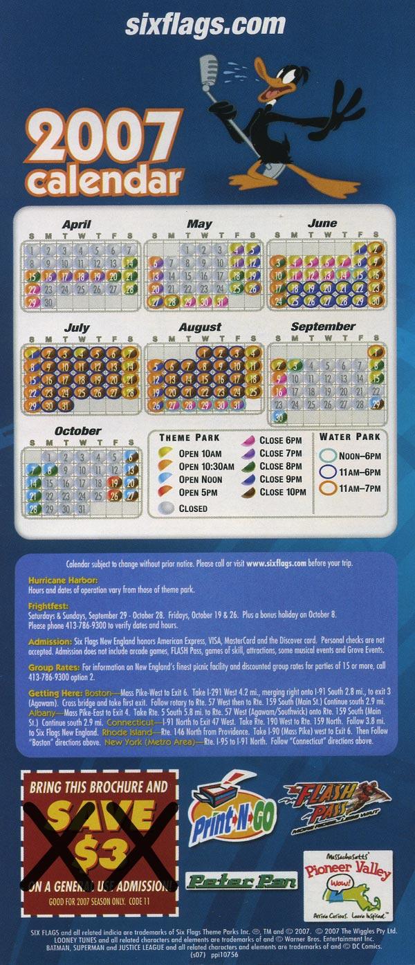 Theme Park Brochures Six Flags New England  Theme Park