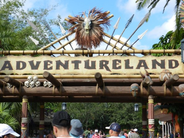 Adventureland in the Magic Kingdom with classic rides such as Jungle Cruise