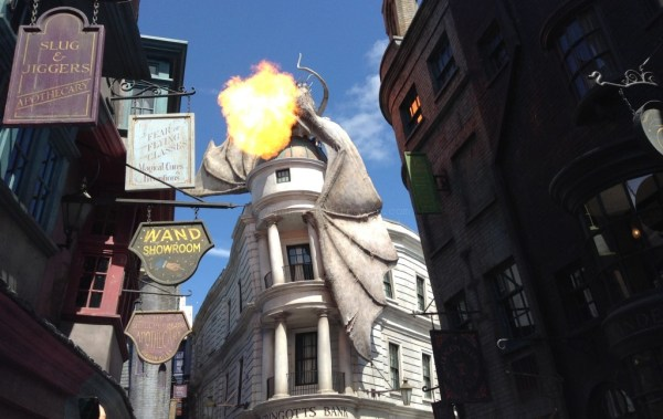 """""""Diagon Alley: Fantastic Beasts and stuffed animals on shelves"""