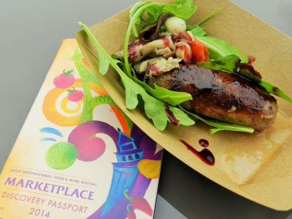 Epcot Food and Wine Festival Beverage Seminar Schedule with juicy sausage and mushrooms on the side.