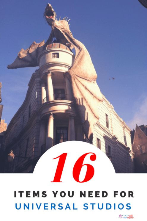 Universal Studios packing list with pale white dragon on top of Gringotts Bank in Diagon Alley.