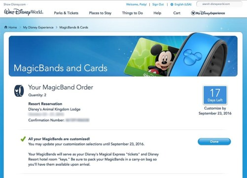 Your MagicBand customization options online at MyDisneyExperience.com.