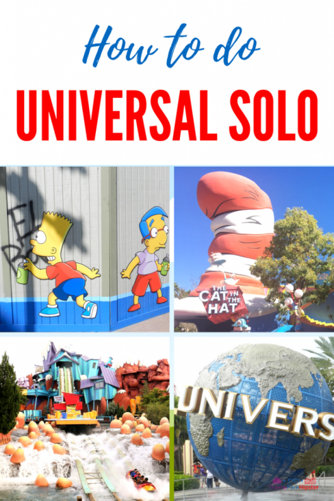 Universal Orlando solo with red and white Cat in the Hat attraction, Bart and Milhouse spray painting fence.
