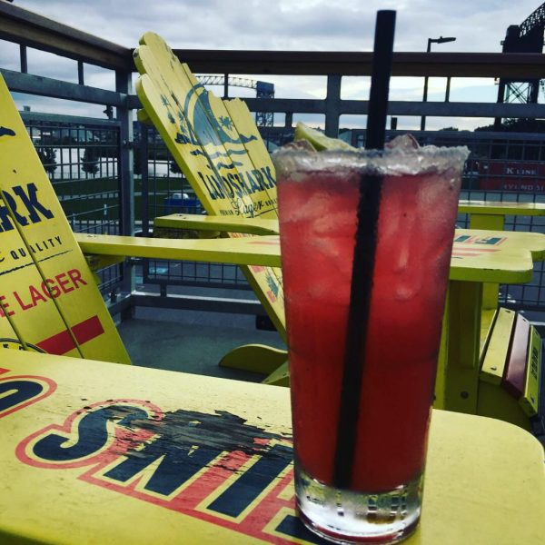 Margaritaville Cleveland Ohio. Refreshing blueberry pomegranate margarita on rooftop bar.