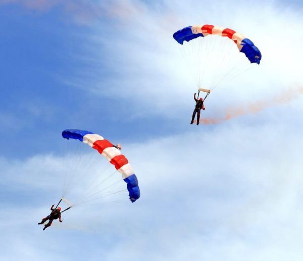 Sky Diving in Orlando in the big clear sky.