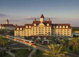Disney's Grand Floridian Resort and Spa with the monorail