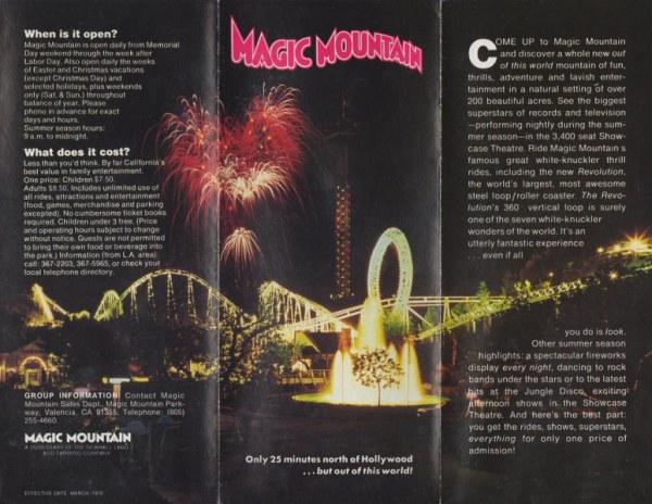 Six Flags Magic Mountain Mark39s Postcard Paradise 1978