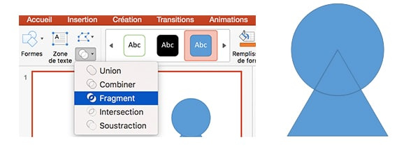 formes combinaison powerpoint fragment