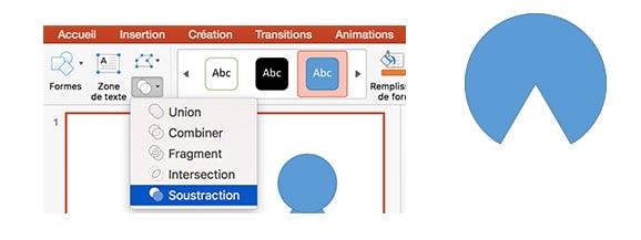 formes combinaison powerpoint soustraction