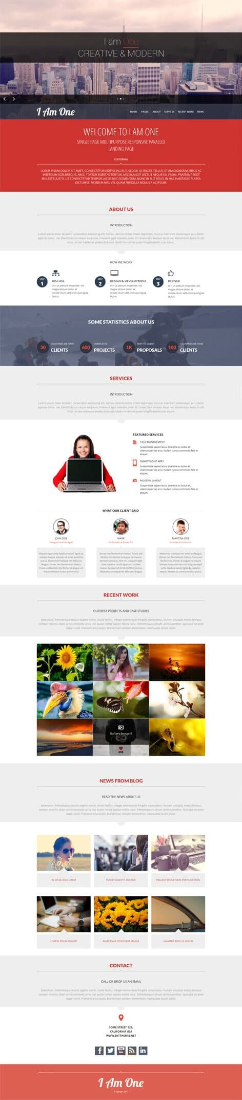 free single page WordPress theme