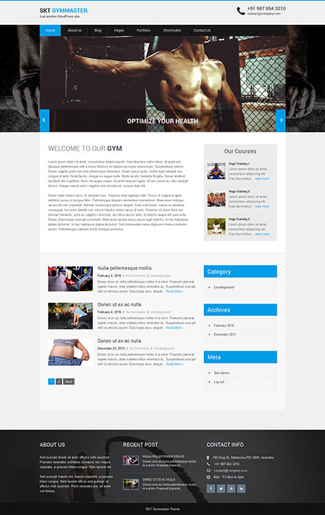 free workout WordPress theme