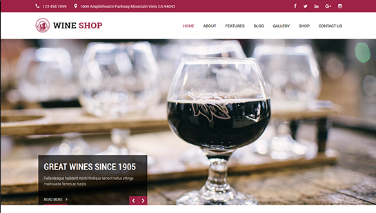 free wine WordPress theme