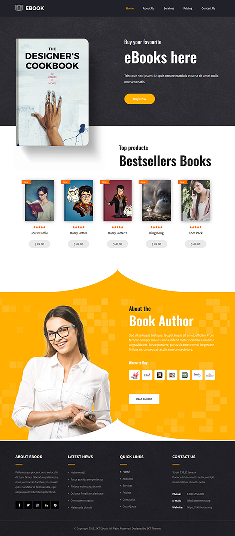 Free eBook store WordPress theme