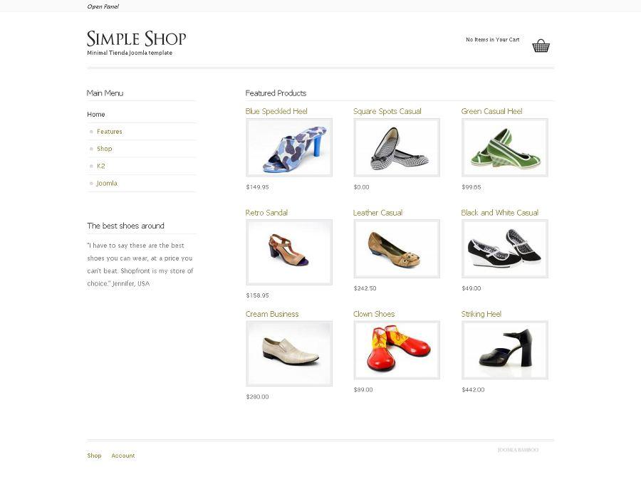 Zen Simple shop Joomla Template, Joomla Ecommerce Theme