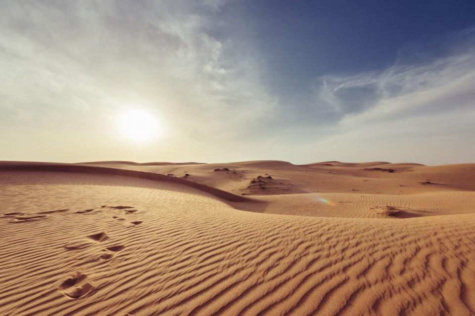 Oman alba deserto