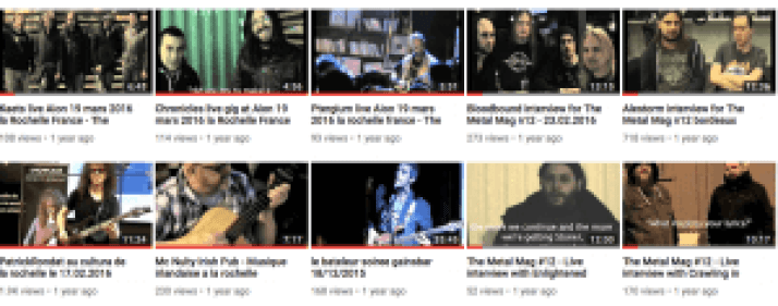 The Metal Mag screen shot of the You Tube Video page with live interviews.