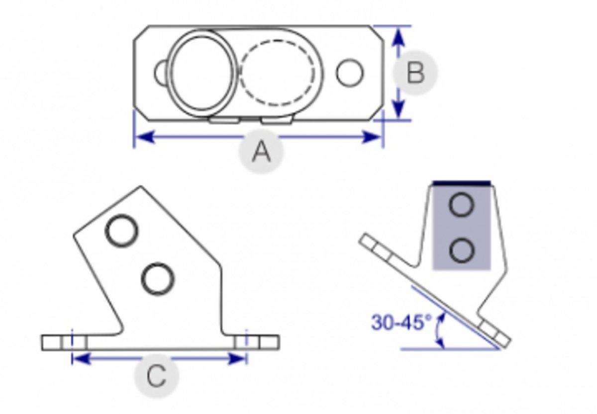 hight resolution of angle base flange 30 45 251