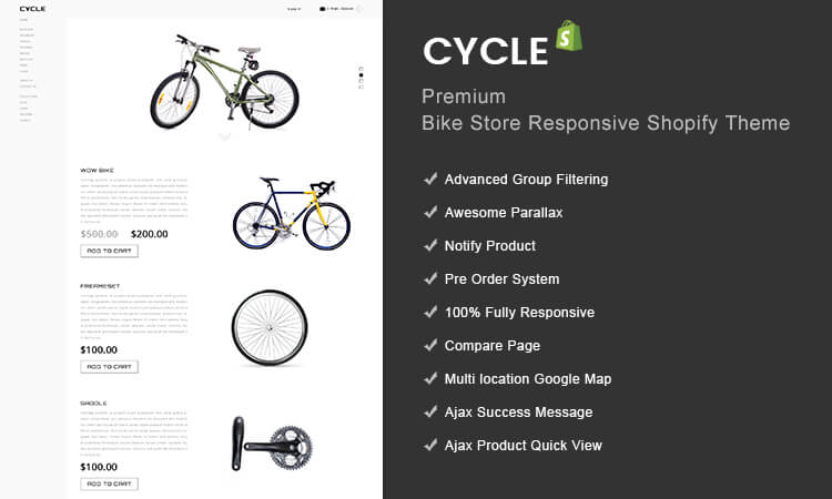 Cycle - Premium Bike Store Responsive Shopify Theme   ThemeTidy