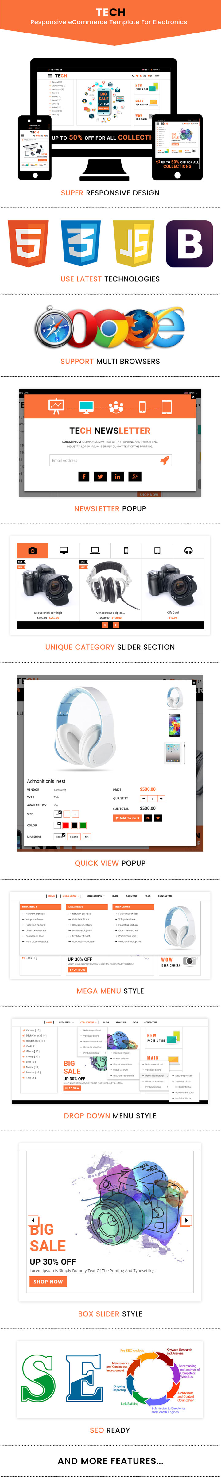 Tech Responsive Ecommerce Bootstrap Template For Electronics
