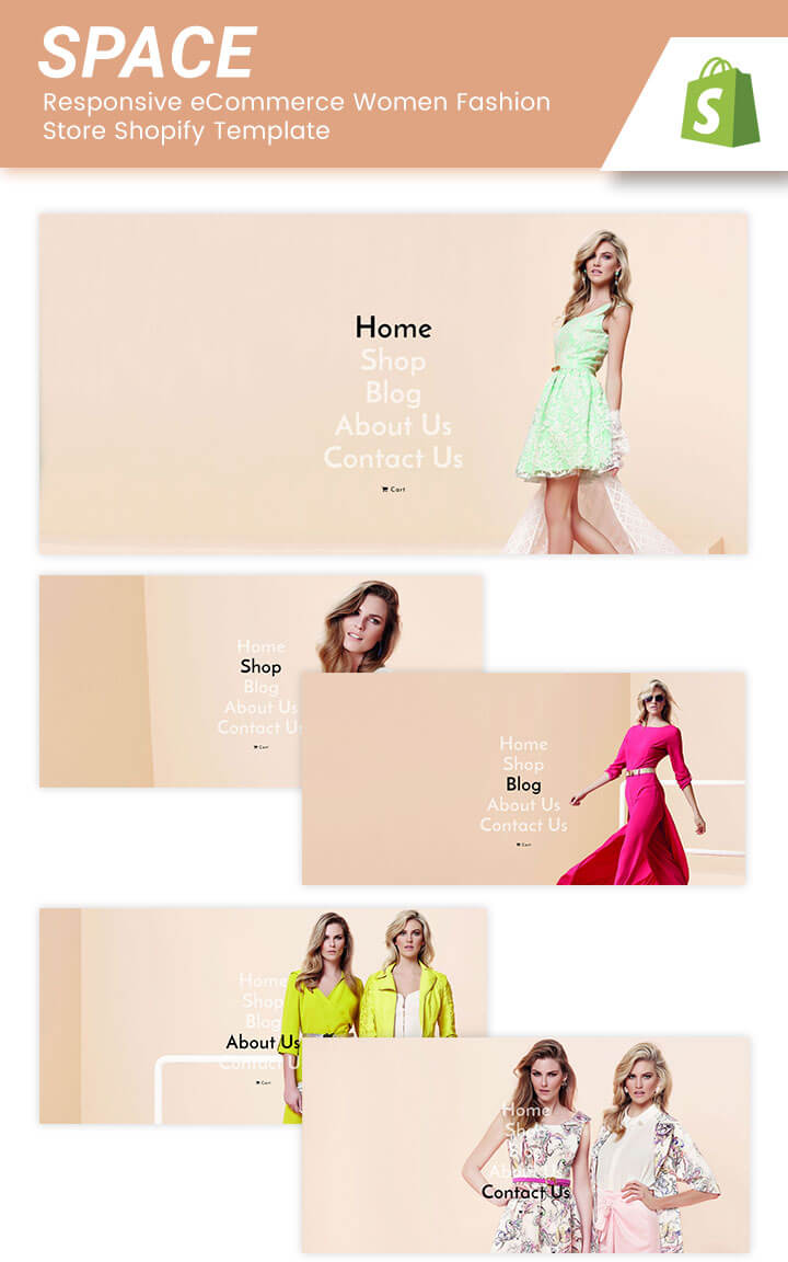 Space responsive ecommerce women fashion store shopify template our space responsive shopify theme can be display nicely in all devices like as desktop iphone ipad smartphone android tablet android device maxwellsz