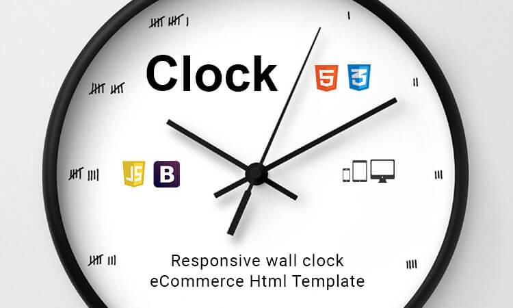 Clock - Responsive wall clock eCommerce Html Template   ThemeTidy