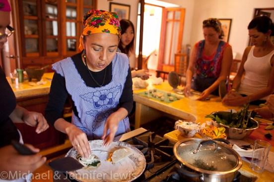 Pilar Cabrera making quesadillas