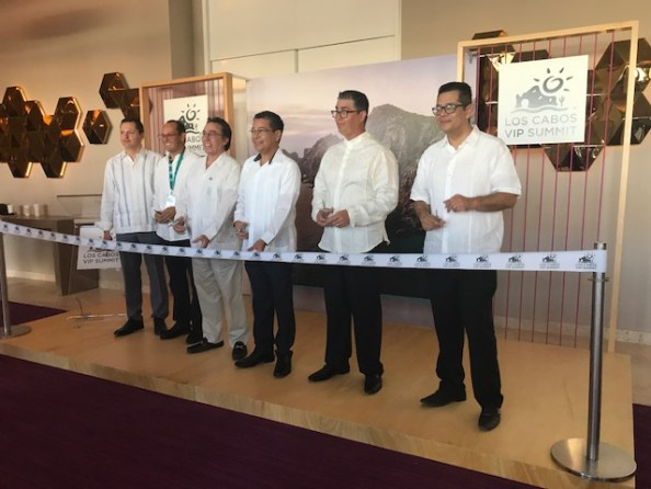 From left to right: Rodrigo Esponda, managing director of the Los Cabos Tourism Board; Jesus Ordoñez, managing director of the Baja California Sur State Tourism Board; Jorge Gamboa, director of the Mexico Tourism Board, Los Angeles; Luis Genaro Ruiz Hernandez, tourism secretary of Baja California Sur State Tourism Board; Eduardo Flores, director of Asudestico, a time share development association; and Enrique Turcott, operations director of real estate developer Grupo Questro