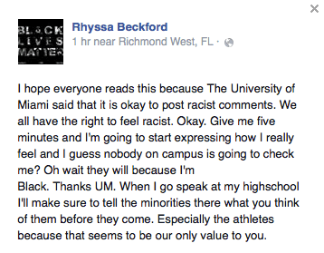 Rhyssa Beckford's response. // Screenshot courtesy Beckford via Facebook
