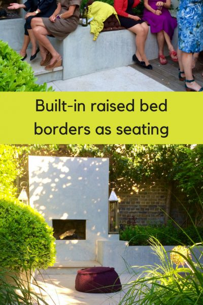 Raised bed edges as seating