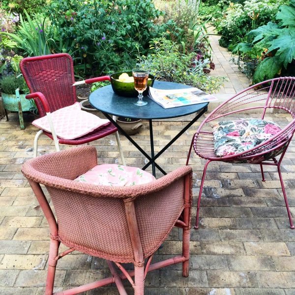 Mis-matched vintage garden chairs