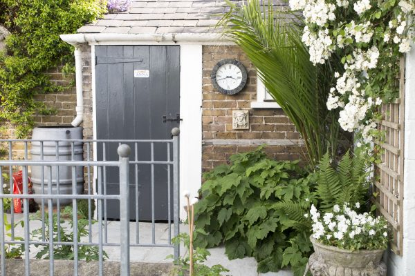 Paint the door to contrast with wood or brick