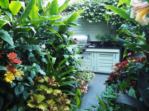 An outdoor kitchen in a garden for entertaining