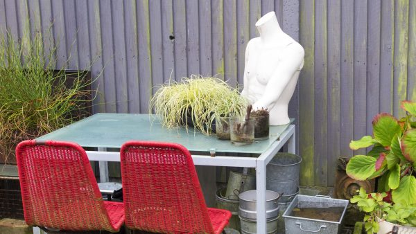 Use office furniture for garden seating
