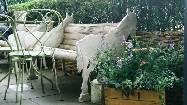 Roof garden bench at the Ham Yard Hotel