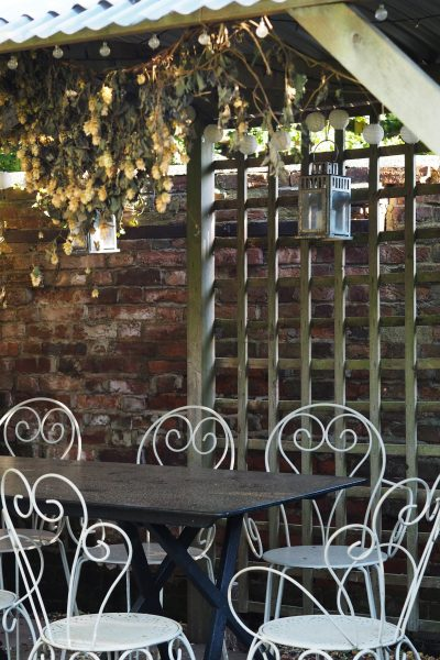 A home-made pergola and table to go with it