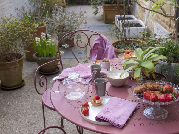 Pink garden table and chairs