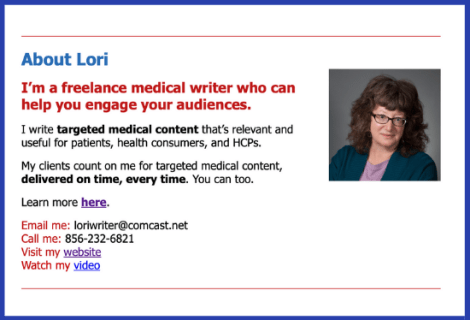 Lori's about section in her email newsletter