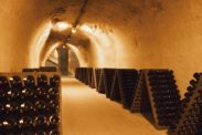 Rows of hundreds of champagne bottles during a tour of Taittinger in Reims, France.