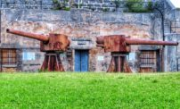 Two cannons facing opposite directions at Alexandra Battery in St. George's, Bermuda