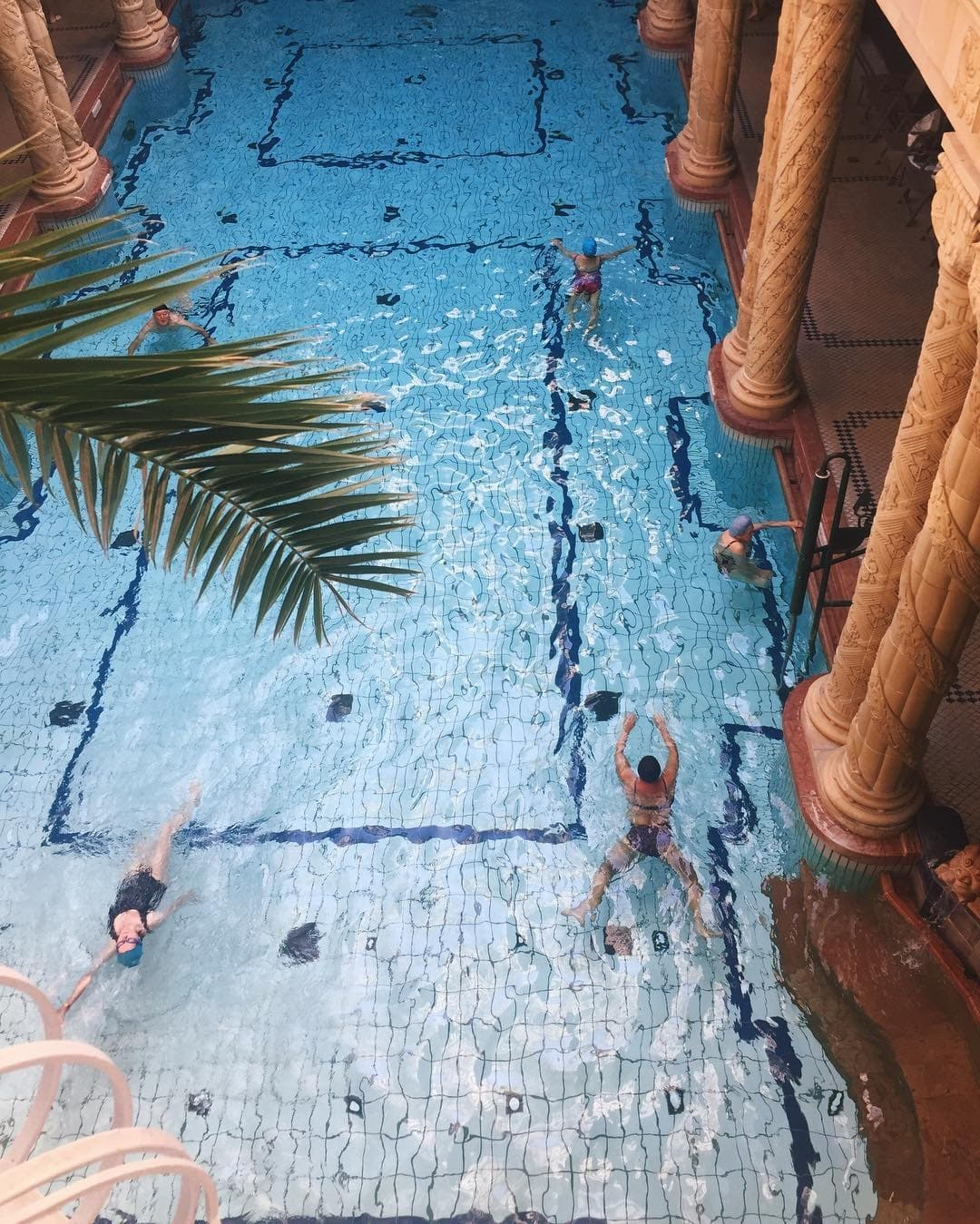 Indoor swimming pool at one of the spas in Budapest.