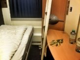 Bed set-up in the sleeper compartment from Rome to Vienna
