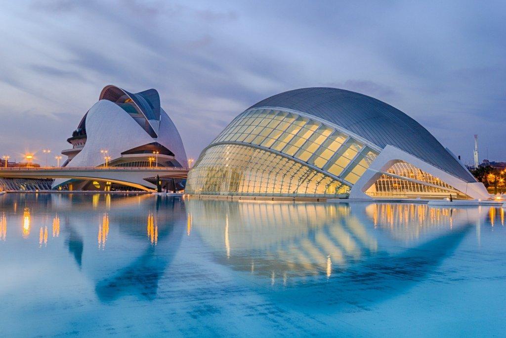 Valencia buildings in blue light