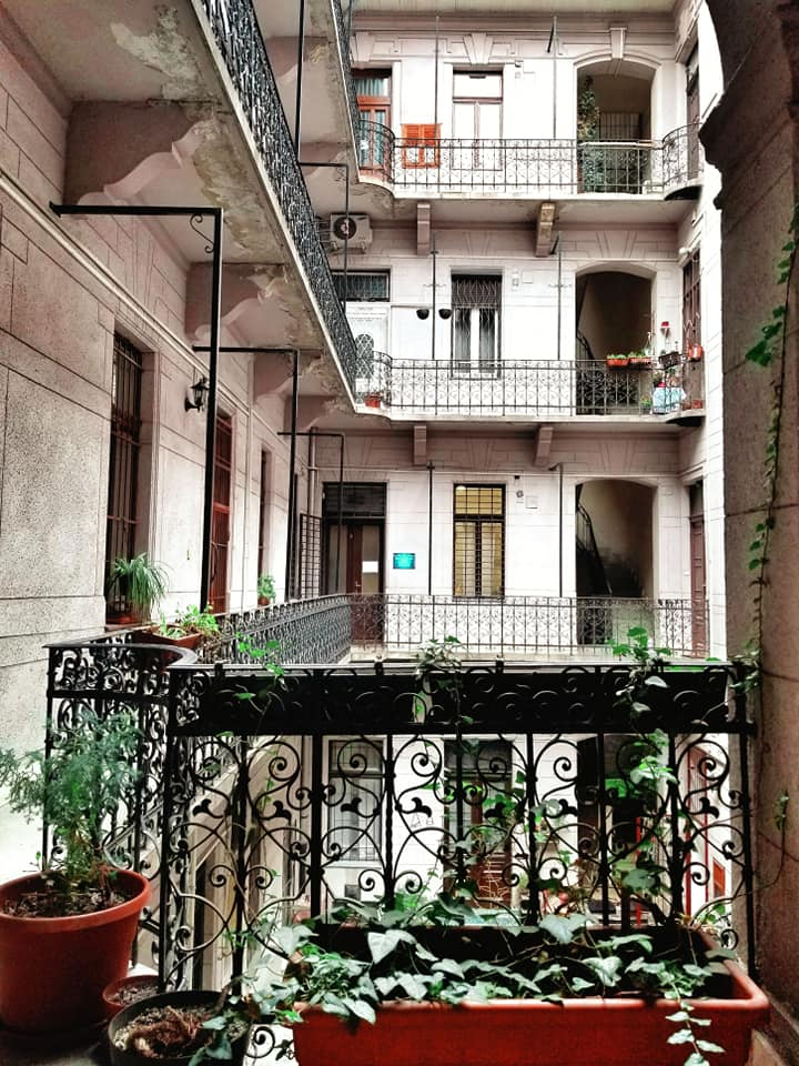 Inner courtyard of Airbnb in Budapest, Hungary.