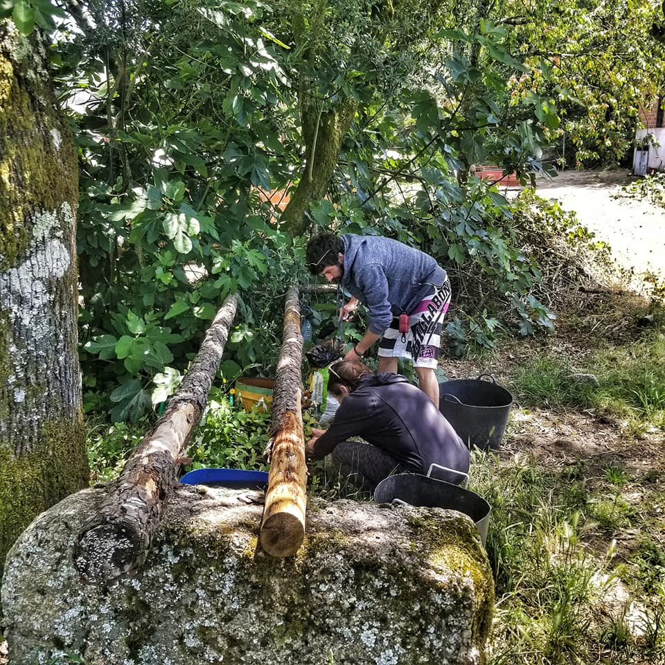 Woman planting trees in Portugal on a sustainable tour of the Peneda-Geres mountains.