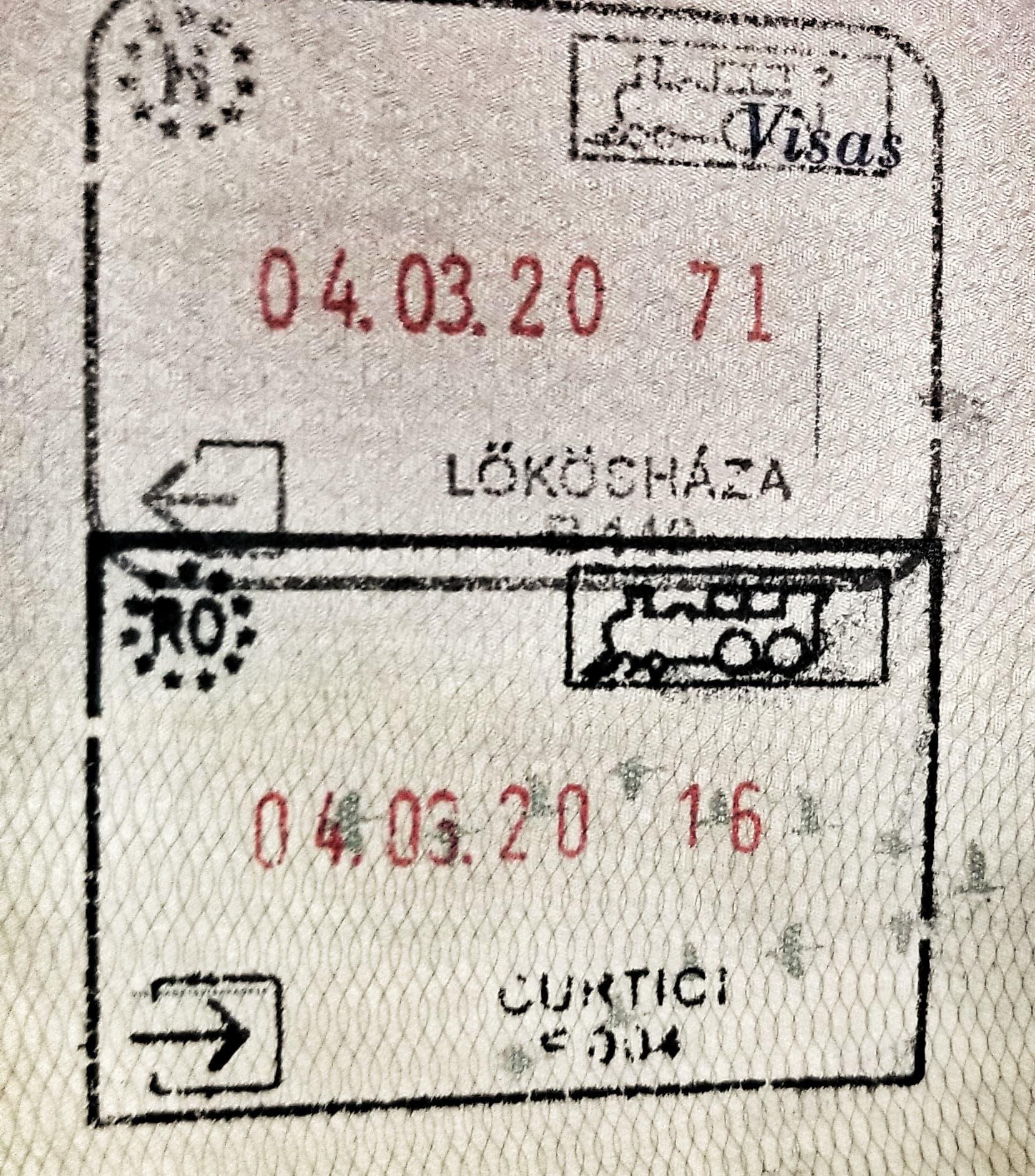 Passport stamps from Lokoshaza, Hungary and Curtici, Romania.