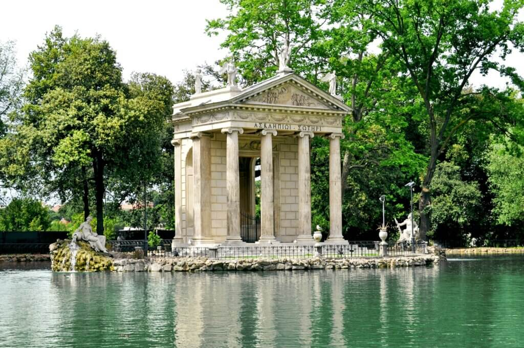Temple surrounded by water at Villa Borghese, one of the most Instagrammable places in Rome.